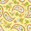 Paisley yellow summer floral textile pattern seamless can be used for wallpaper fabrics paper craft projects web page Stock Images