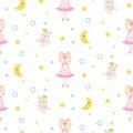 Pajamas pattern with tilda bunny, bear plush toy seamless vector.