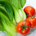 Pakchoi and tomato Royalty Free Stock Photography
