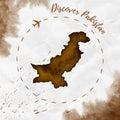 Pakistan watercolor map in sepia colors.
