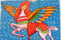 Pakistani truck art women faced horse with wings on a Royalty Free Stock Images