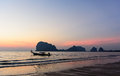 Pakmeng beach pak meng in the evening trang province south of thailand Stock Photo