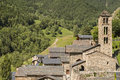 Pal andorra stone houses and church in the village of Stock Photo