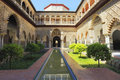 Palace of Alcazar, Famous Andalusian Architecture. Old Arab Palace in Seville, Spain Royalty Free Stock Photo