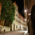 Palace chigi saracini in siena night view of the famous tuscany italy Royalty Free Stock Photography