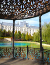 The palace of culture from iasi romania seen through a gazebo near lake Stock Photos