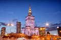 Palace of culture and science at dusk in warsaw polish palac kultury i nauki city downtown poland Stock Photography