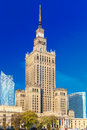 Palace of Culture and Science in Warsaw city downtown, Poland. Royalty Free Stock Photo