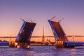 Palace drawbridge, White nights in Saint Petersburg, Russia Royalty Free Stock Photo