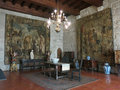 Palace of the dukes of bragança portugal room with flemish tapestries in ducal in guimaraes Stock Photos