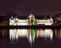 Palace of farmers at night in kazan russia with reflection river Stock Photography