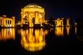 The Palace of Fine Arts at night, in San Francisco, California. Royalty Free Stock Photo
