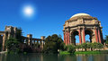 Palace of fine arts in san francisco against blue sky and sunbeam ca usa Royalty Free Stock Photo
