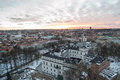 Palace of the grand dukes of lithuania and vilnius old town in the sunset the view from gediminas tower winter Stock Photo