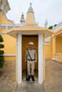 A palace guard at his palace post in Phnom Penh Royalty Free Stock Photos