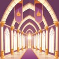 Palace hall, castle column empty corridor interior Royalty Free Stock Photo