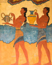 Palace of knossos fresco in crete greece replica a minoan depicting women carrying urns at archeological site near heraklion Royalty Free Stock Photo