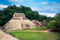 The Palace observation tower in Palenque, Maya city in Chiapas, Mexico Royalty Free Stock Photo