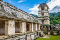 Palace and observatory at mayan ruins of Palenque - Chiapas, Mexico Royalty Free Stock Photo