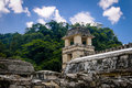 Palace observatory tower at mayan ruins of Palenque - Chiapas, Mexico Royalty Free Stock Photo