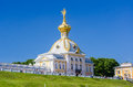 Palace in peterhof with russian eagle on the roof saint petersburg russia Stock Photos
