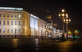 Palace square at night saint petersburg russia Stock Images