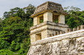 Palace tower in the at the mayan ruins of palenque Stock Photo