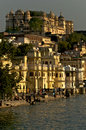 Palace udaipur india city under sunset Stock Photo