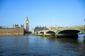 The Palace of Westminster with Big Ben clock tower and Westminster Bridge, London, England Royalty Free Stock Photo