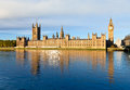 Palace of westminster the with elizabeth tower viewed from across the river thames Royalty Free Stock Photo