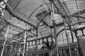 Palacio de cristal parque del buen retiro madrid black and white inside view of the crystal palace a glass an meta structure Stock Photo