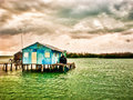 Palafitos houses over logs in the water mexican caribbean Stock Photography