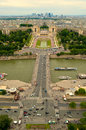 Palais de chaillot and jardins du trocadero as seen from the eiffel tower with the la defensem the paris financial district in the Royalty Free Stock Photo