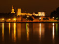 Palais des papes at night view across the river rhone on in avignon Stock Photo