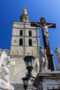 Palais des papes popes palace detail of the crucifix outside the palace avignon france Royalty Free Stock Photos