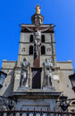 Palais des papes popes palace detail of the crucifix outside the palace avignon france Royalty Free Stock Images