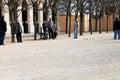 Palais royal garden jardins du palais royal in paris france march petanque players gardens the current form of the game originated Stock Photo