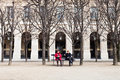 Palais royal garden in paris france march from on march originally called cardinal the palace was Stock Photo
