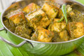 Palak paneer south asian curry made with cheese with pureed spinach sauce Stock Image