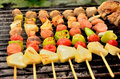 Palatable pork barbeque on the stove Stock Photos
