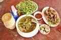 Palatable thai local food set on the table Royalty Free Stock Photos