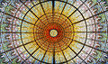 Palau de la Musica Catalana skylight of stained glass, Barcelona, Spain Royalty Free Stock Photo