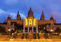 Palau nacional de montjuic in barcelona spain summer evening time Royalty Free Stock Photo
