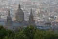 Palau nacional domes of in barcelona Stock Photo