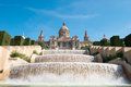 The palau nacional situated in montjuic barcelona Royalty Free Stock Photo
