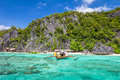Palawan philippines beautiful limestone rock beach in coron Royalty Free Stock Photo