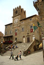 Palazzo comunale in cortona italy at the main square of the medieval old town of tuscany Royalty Free Stock Photography