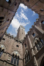 Palazzo comunale courtyard with torre del mangia in siena medieval of the framing the tuscany italy Stock Photo