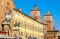 Palazzo Municipale and Castello Estense in Ferrara Royalty Free Stock Photo