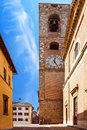 Palazzo podestà colle di val d elsa also called pretorio with its imponent watch tower tuscany italy Stock Photography